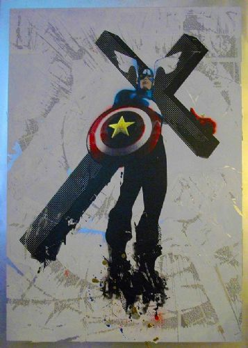 BANKSY - CAPTAIN AMERICA - Cross canvas print - self adhesive poster - photo print
